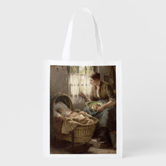 Motherly Affection (oil on canvas) Reusable Grocery Bags