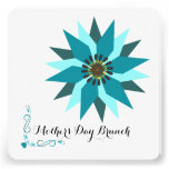 Mother's Day Abstract Floral Teal Brunch Invites
