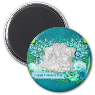 Mothers Day - ADD YOUR PHOTO - Blue Fantasy 6 Cm Round Magnet
