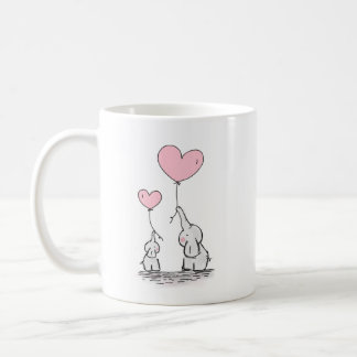 Mother's Day Baby Elephant and Mommy heart balloon Coffee Mug