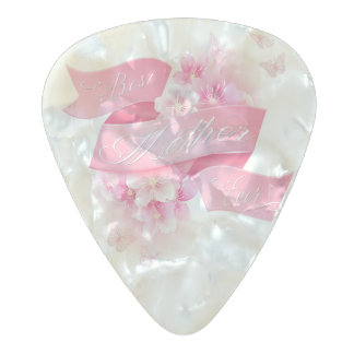 """Mother's Day """"Best Mother Ever"""" All Options Pearl Celluloid Guitar Pick"""