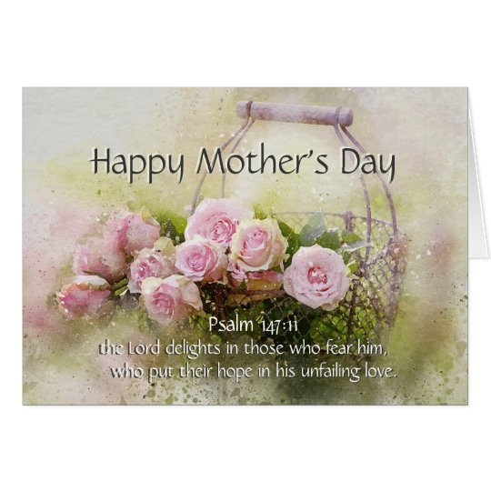 Mother's Day, Bible Verse Psalm 147:11 Pink Roses