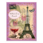 Mother's Day Brunch Paris Eiffel Tower & Red Wine 11 Cm X 14 Cm Invitation Card