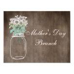 Mother's Day Brunch Rustic Mason Jar & Flowers Custom Invitation