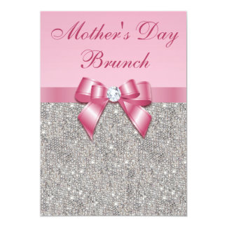 Mother's Day Brunch Silver Jewels Pink Faux Bow 13 Cm X 18 Cm Invitation Card