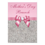 Mother's Day Brunch Silver Jewels Pink Faux Bow Custom Announcements