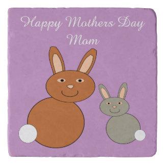 Mothers Day Bunnies Custom Stone Trivet