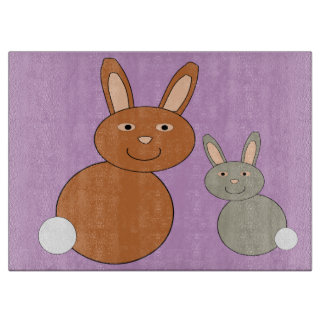 Mothers Day Bunnies Glass Cutting Board