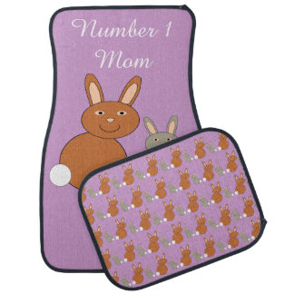 Mothers Day Bunnies Personalized Car Mat Set