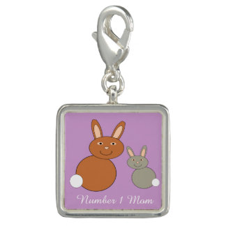 Mothers Day Bunnies Personalized Charm