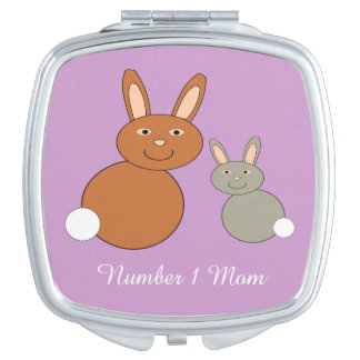 Mothers Day Bunnies Personalized Compact Mirror
