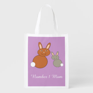 Mothers Day Bunnies Personalized Reusable Bag