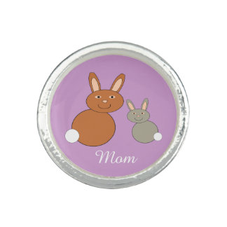 Mothers Day Bunnies Personalized Ring