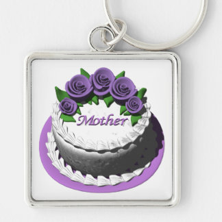 Mothers Day Cake Silver-Colored Square Key Ring