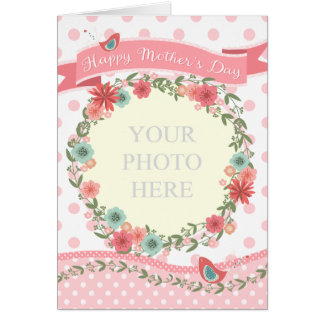 Mother's Day Card - Add Own Photo Peach Flowers