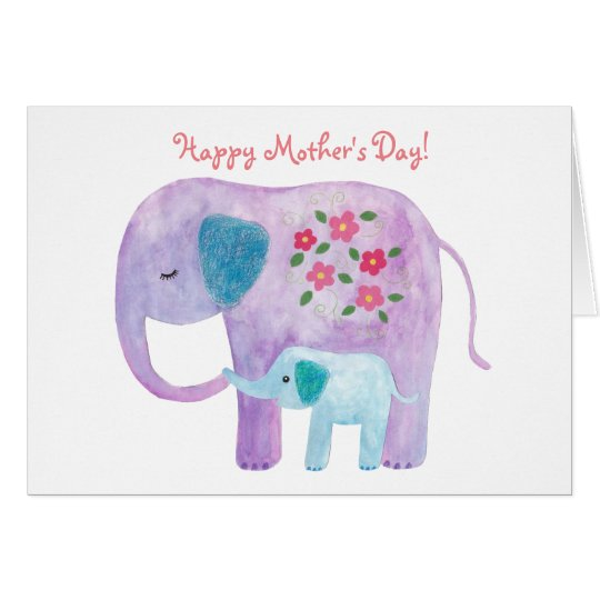 Mother's day Card Elephant Mum Baby Greeting Card