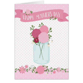 Mother's Day Card - Flowers in a Jar Polka Dots