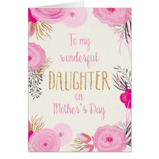 Mother's Day Card for Daughter Pretty Pink Flowers
