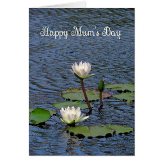 Mother's Day Card for Mum, Cream Water Lilies