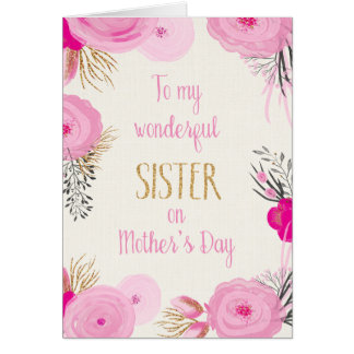 Mother's Day Card for Sister - Pretty Pink Flowers