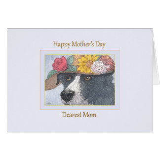 Mothers Day Card - Sheepdog in a hat
