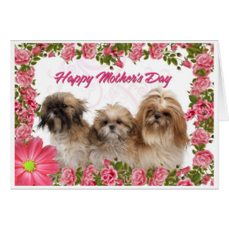 Mother's Day Card - Shih Tzu Dogs - Pink Floral