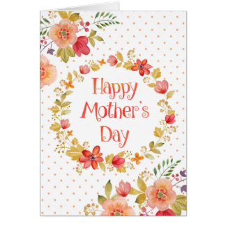 Mother's Day Card - Watercolor Flowers Polka Dots
