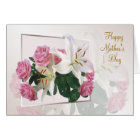 Mother's day card - White lilies and pink roses