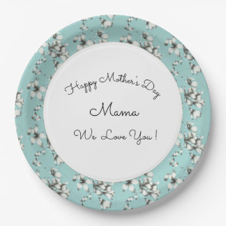 Mother's-Day_Celebrations-Blue-White-Floral_II Paper Plate