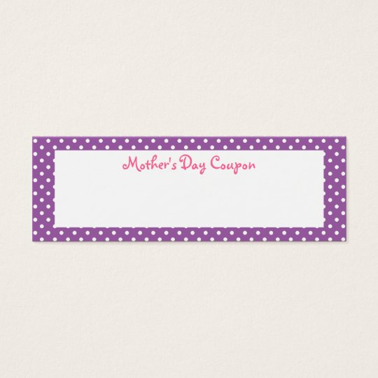 Mother's Day Coupons Mini Business Card