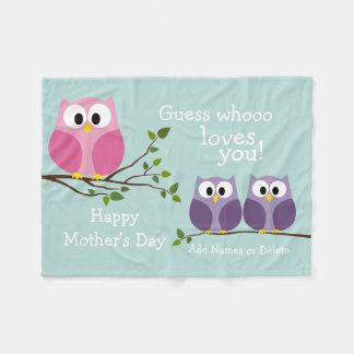 Mothers Day - Cute Owls Fleece Blanket