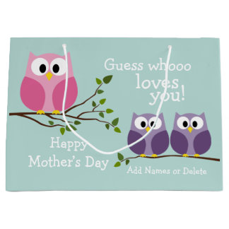 Mothers Day - Cute Owls Large Gift Bag