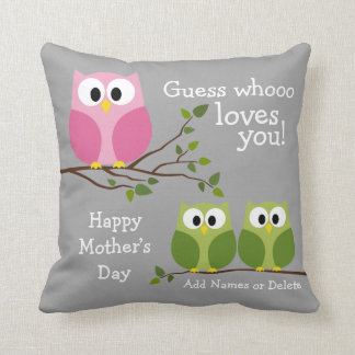 Mothers Day - Cute Owls - Whooo loves you Cushions