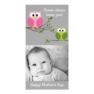 Mothers Day - Cute Owls - Whooo loves you Customised Photo Card