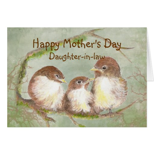 Mother's Day Daughter-in-law  Sparrow Bird Family Greeting Cards