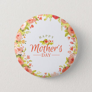 Mother's day flowers 6 cm round badge