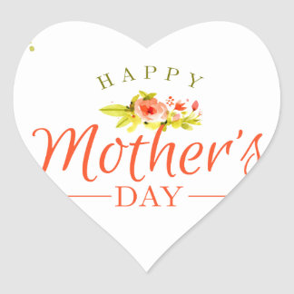 Mother's day flowers heart sticker