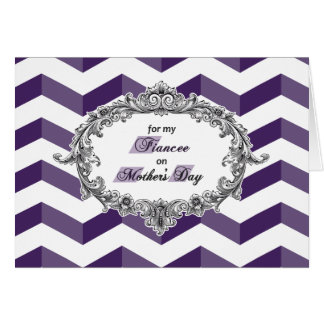 Mother's Day for Fiancee Chevrons w/Antique Frame Greeting Card