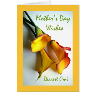 Mother's Day for Omi, Calla Lilies Greeting Card