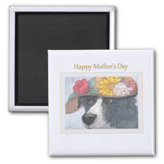 Mother's Day fridge magnet - Sheepdog in a hat