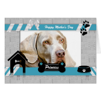 Mother's Day from the Dog Photo in Turquoise Blue Greeting Card
