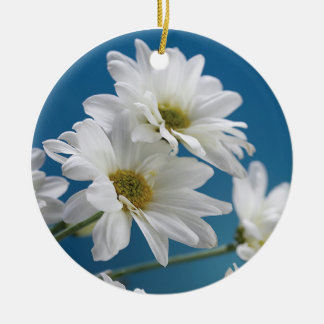 Mother's Day Garden of Love, Daisies, Blue Sky Round Ceramic Decoration
