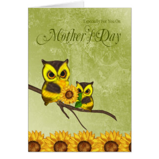Mother's Day Greeting Card With Owls And Sunflower