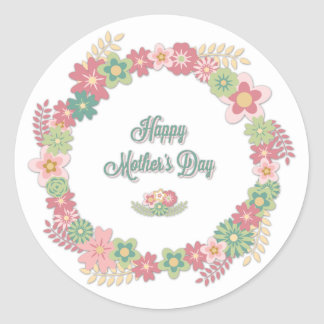 "Mother's Day-""Happy Mother's Day"" - Floral Wreath Classic Round Sticker"