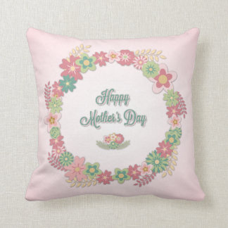 """Mother's Day-""""Happy Mother's Day"""" - Floral Wreath Pillow"""