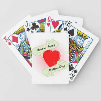 Mothers Day Heart Bicycle Playing Cards