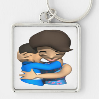 Mothers Day Hug Silver-Colored Square Key Ring