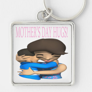 Mothers Day Hugs Silver-Colored Square Key Ring