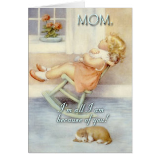 Mother's Day, Little Girl , Rocking Chair, Custom Greeting Card