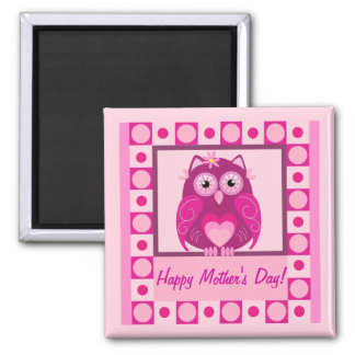 Mother's Day magnet with Pink cartoon Owl & texr